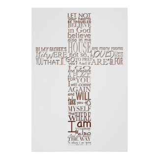 Christian Cross Bible Verses - Copper Letters - Poster