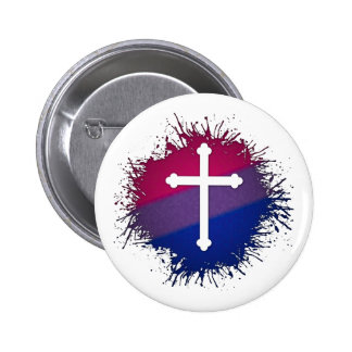 Christian Cross  - Bisexual Pinback Buttons