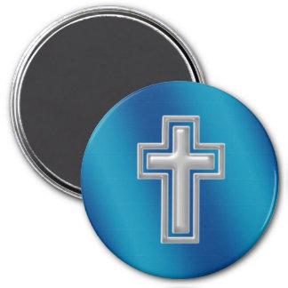 Christian Cross | Blue Background 7.5 Cm Round Magnet
