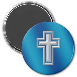 Christian Cross | Blue Background 7.5 Cm Round Magnet