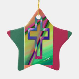 Christian cross ceramic star decoration