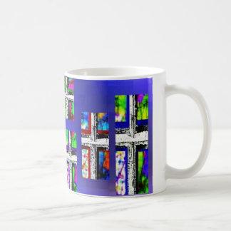 Christian Cross Collage Multi Colour by JudyMarisa Basic White Mug