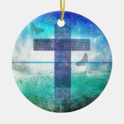 Christian Cross Contemporary  art Christmas Tree Ornaments
