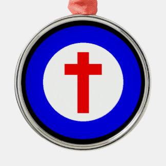 Christian Cross Round Metal Christmas Ornament