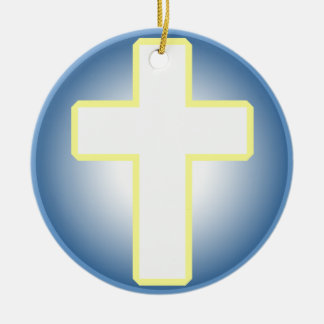 Christian Cross Double-Sided Ceramic Round Christmas Ornament