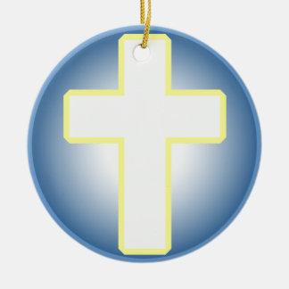 Christian Cross Round Ceramic Decoration