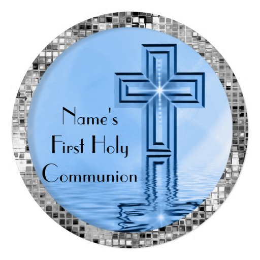 Christian Cross First Holy Communion Invitation