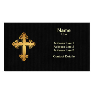 Christian Cross Fleury Gold on Black Pack Of Standard Business Cards