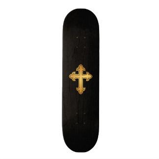 Christian Cross Fleury Gold on Black 21.6 Cm Old School Skateboard Deck