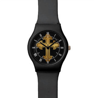 Christian Cross Fleury Gold on Black Watches