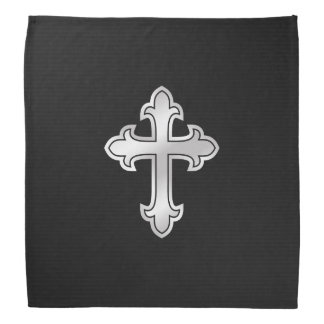 Christian Cross Fleury Silver on Black Bandana