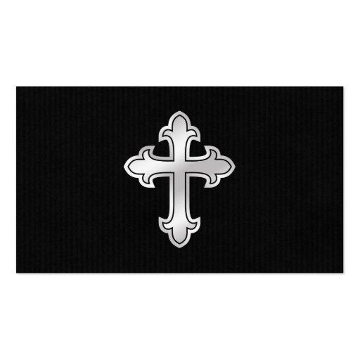Christian Cross Fleury Silver on Black Business Card Templates