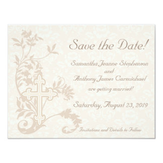 Christian Cross Flourish Save the Date Cards Custom Invitation