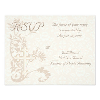 Christian Cross Flourish Wedding RSVP Card 11 Cm X 14 Cm Invitation Card