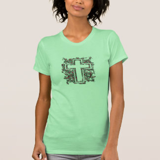 Christian Cross, green with red flowers pattern Tees