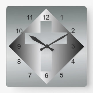 Christian Cross in Silver Color Wall Clock