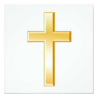 Christian Cross 5.25x5.25 Square Paper Invitation Card