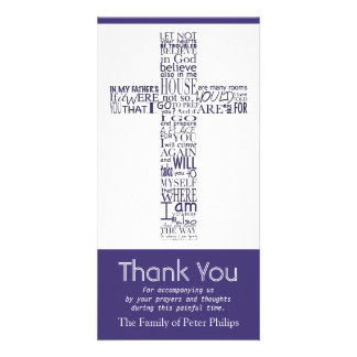 Christian Cross John 14:02 - Sympathy Thank You 4 Customised Photo Card