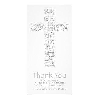 Christian Cross - John 14:02 - Sympathy Thank You Customised Photo Card