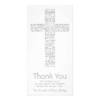 Christian Cross - John 14:02 - Sympathy Thank You Customised Photo Card