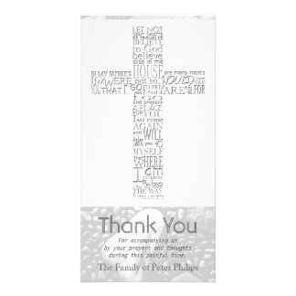 Christian Cross John 14 Sympathy Thank You 3 Customised Photo Card