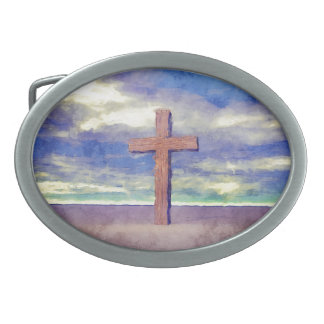Christian Cross Landscape Belt Buckles