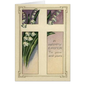 Christian Cross Lily Of The Valley Greeting Card