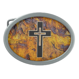 Christian cross on a rusted metal surface belt buckles