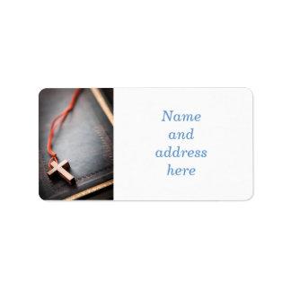 Christian Cross on Bible Address Label