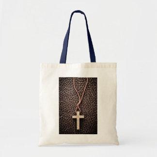 Christian Cross on Bible Canvas Bag