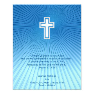 Christian Cross on blue background 11.5 Cm X 14 Cm Flyer