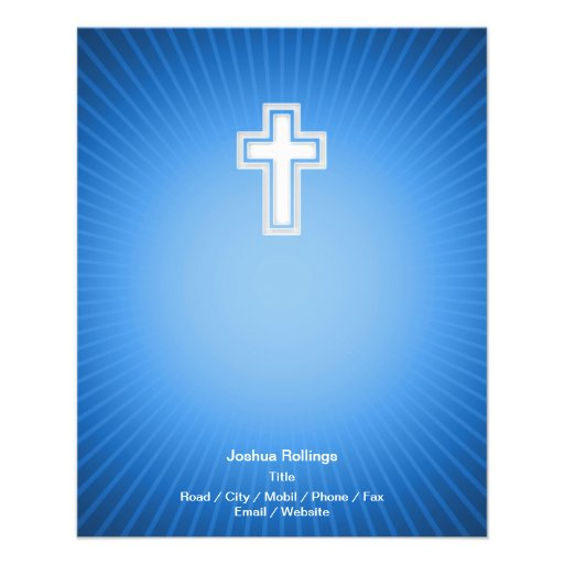 Christian Cross on blue background Personalized Flyer
