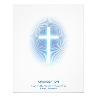 Christian Cross on blue eliptical background 11.5 Cm X 14 Cm Flyer
