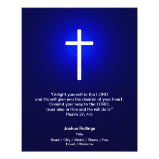 Christian Cross on dark blue background 11.5 Cm X 14 Cm Flyer