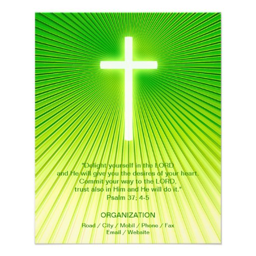 Christian Cross on green background Personalized Flyer