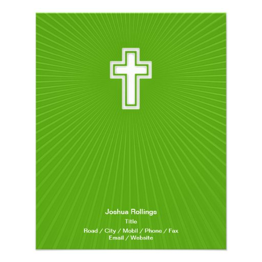 Christian Cross on green background Full Color Flyer