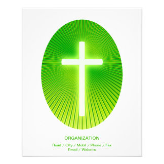 Christian Cross on green eliptical background 11.5 Cm X 14 Cm Flyer