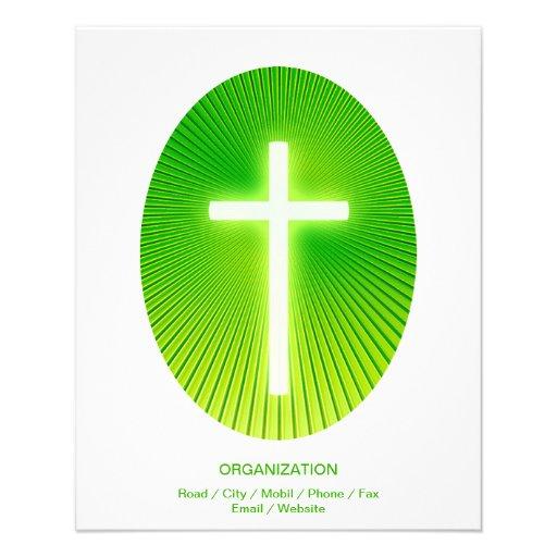 Christian Cross on green eliptical background Flyer Design