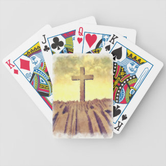 Christian Cross On Mountain Bicycle Playing Cards