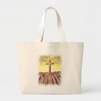Christian Cross On Mountain Canvas Bags