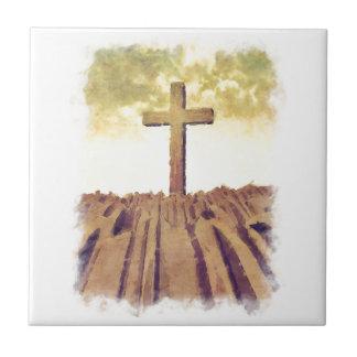 Christian Cross On Mountain Ceramic Tiles