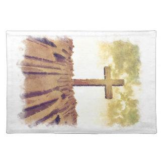 Christian Cross On Mountain Cloth Place Mat