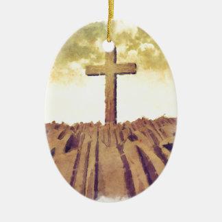 Christian Cross On Mountain Christmas Tree Ornament