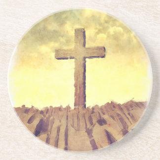 Christian Cross On Mountain Drink Coaster