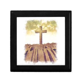 Christian Cross On Mountain Gift Box