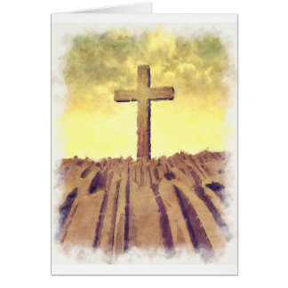 Christian Cross On Mountain Greeting Card