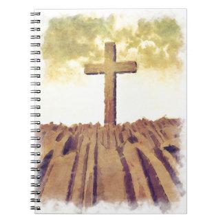 Christian Cross On Mountain Notebooks
