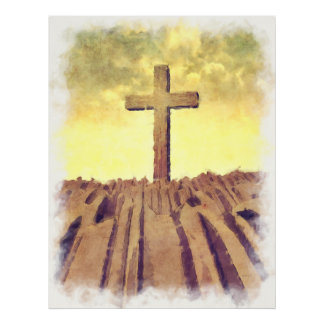 Christian Cross On Mountain Posters