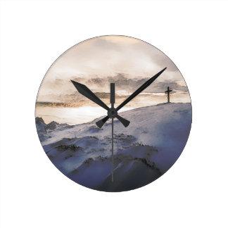 Christian Cross On Mountain Round Clock