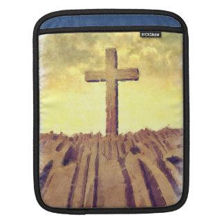 Christian Cross On Mountain Sleeves For iPads